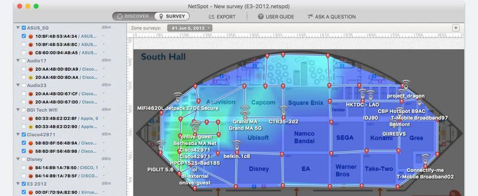 HiveRadar Wireless Site Surveyor Powered By NetSpot Wifi Design - Wireless signal map